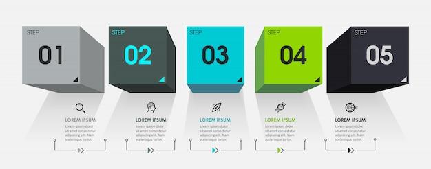 Modello di infografica con passaggi Vettore Premium
