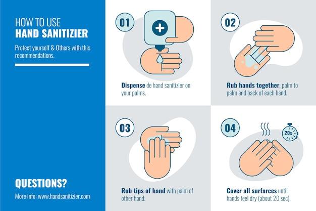 Infografica per l'utilizzo di un disinfettante per le mani Vettore Premium