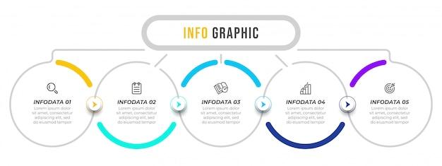 Modello di progettazione di vettore di infografica con frecce e icone. Vettore Premium