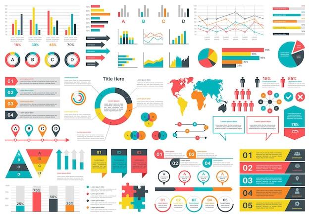 Illustrazione di grafici di infographics Vettore Premium
