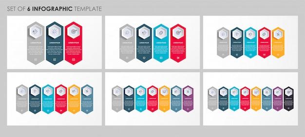 Infografica set con icone e 3, 4, 5, 6, 7, 8 opzioni o passaggi. concetto di affari. Vettore Premium