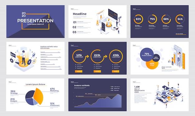Modello di diapositiva di infografica Vettore Premium