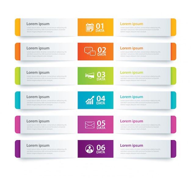 Indice di carta di tabulazione di infographics con 6 modello di dati Vettore Premium