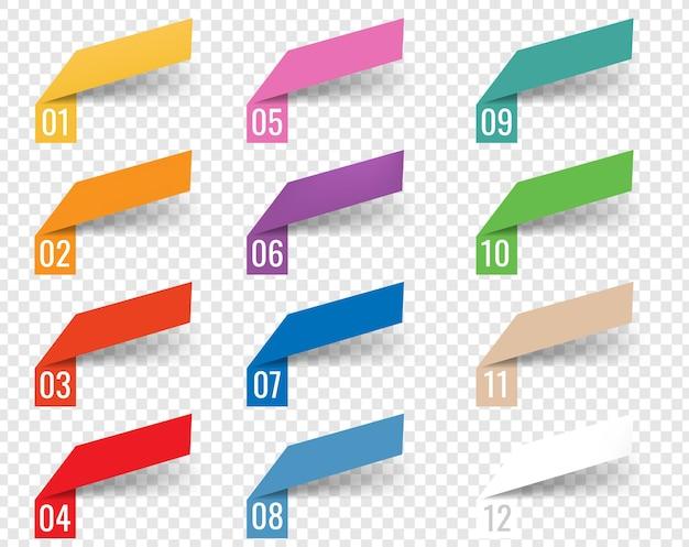 Nastri web modello infographics sfondo bianco con maglia gradiente, Vettore Premium