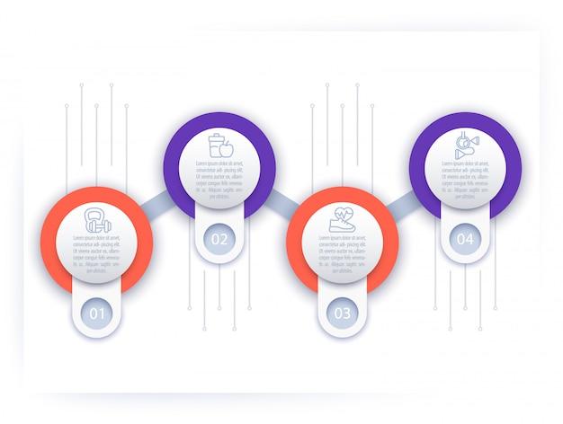 Infografica, modello di sequenza temporale con icone di linea fitness, Vettore Premium