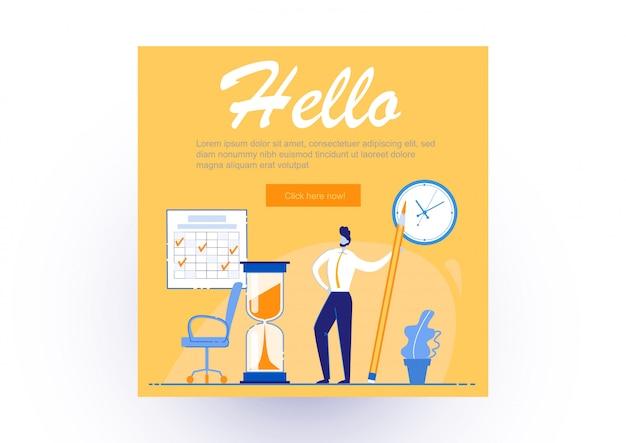 Poster informativo scritto ciao, lavoro d'ufficio. guy è soddisfatto di se stesso ed è in piedi con una grande matita in ufficio. determinazione di come aumentare la produttività sul lavoro. Vettore Premium