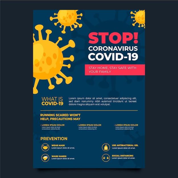 Volantino informativo sul coronavirus Vettore Premium