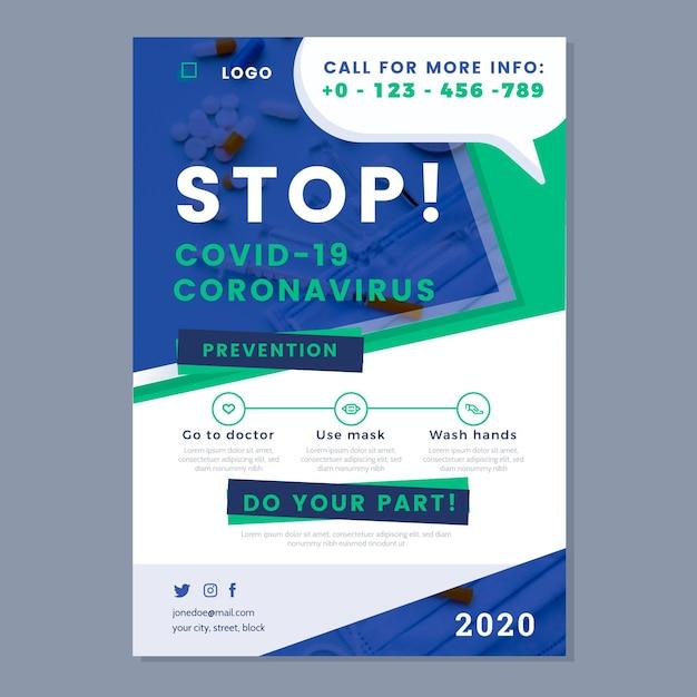 Modello di poster informativo sul coronavirus Vettore Premium