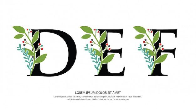 Logo della lettera def iniziale con forma di fiore Vettore Premium