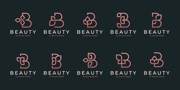 Lettera iniziale b con elemento foglia astratto. logo a forma di monogramma minimalista line art. Vettore Premium