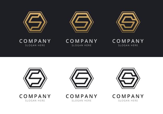 Logo iniziale s all'interno di forma esagonale in colore oro e nero Vettore Premium