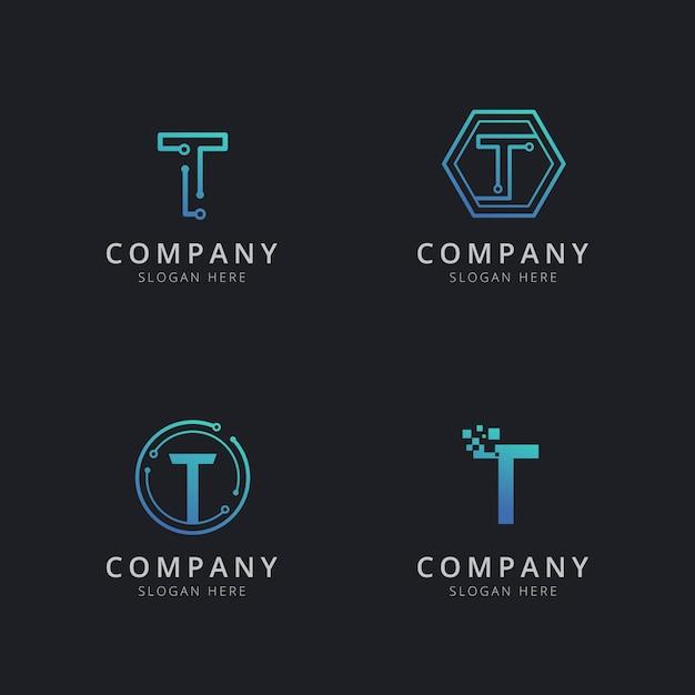 Logo t iniziale con elementi tecnologici in colore blu Vettore Premium