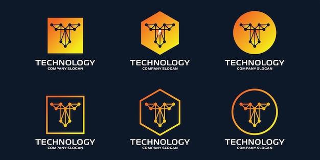Logo t iniziale con elementi tecnologici Vettore Premium