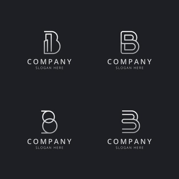 Modello di logo monogramma linea iniziale b con un colore stile argento per l'azienda Vettore Premium