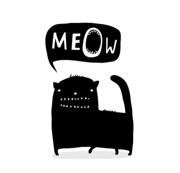 Inky funny cat talk meow Vettore Premium