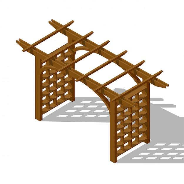 Pergola isometrica cortile interno Vettore Premium