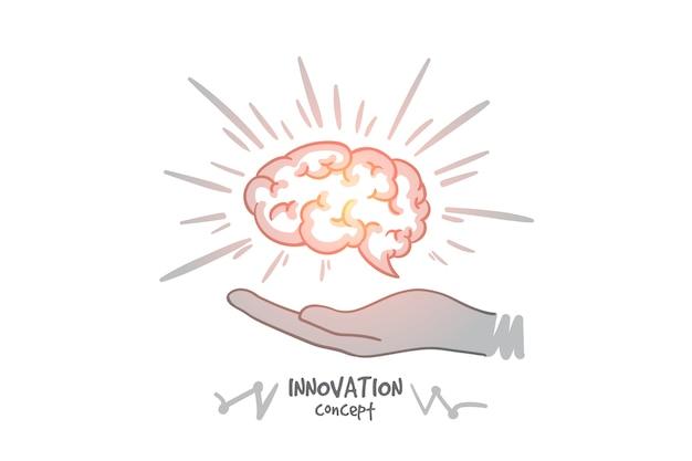 Concetto di innovazione. cervello umano disegnato a mano nelle mani. cervello come simbolo di creatività e idee illustrazione isolata. Vettore Premium