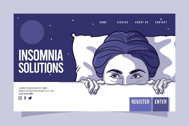 Modello di pagina di destinazione dell'insonnia Vettore Premium