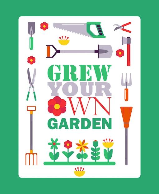 Poster di giardinaggio ispiratore, copertina del libro tipografico con icone degli strumenti giardiniere isolato. Vettore Premium