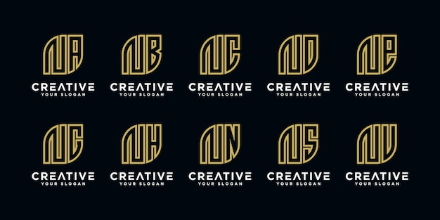 Inspirational bundle moderno logo n ed ecc Vettore Premium