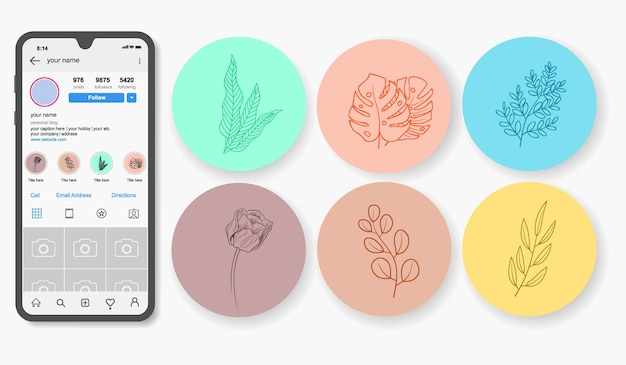 Punti salienti di storie floreali disegnate a mano di instagram. Vettore Premium