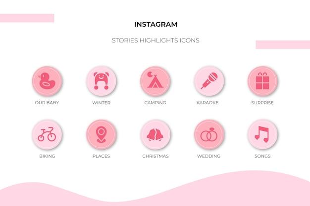 Punti salienti delle storie dell'icona di instagram Vettore Premium