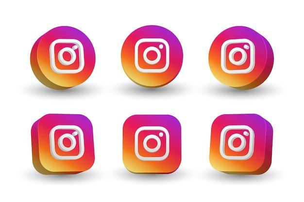 Collezione di icone logo instagram isolato su bianco Vettore Premium
