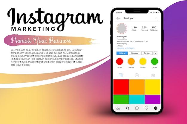 Instagram marketing nel modello iphone Vettore Premium
