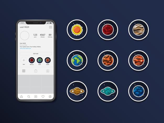 Punto culminante di storie di vettore dei pianeti di instagram Vettore Premium