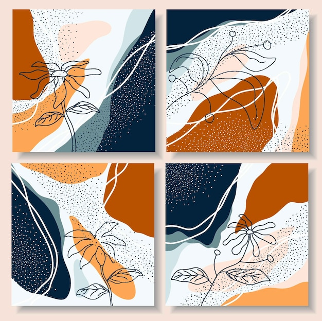 Set di modelli di post di instagram. Vettore Premium