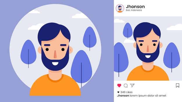 Modello di post di instagram con avatar maschile piatto Vettore Premium