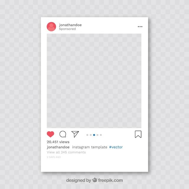 Post instagram con sfondo trasparente Vettore Premium