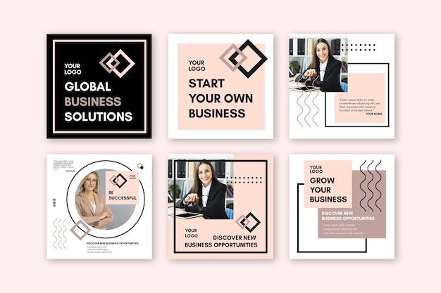 Raccolta di post di instagram per imprenditrice Vettore Premium