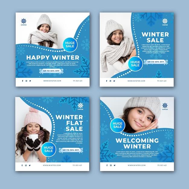 Raccolta di post di instagram per i saldi invernali Vettore Premium
