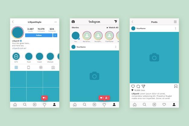 Modello di interfaccia del profilo instagram Vettore Premium