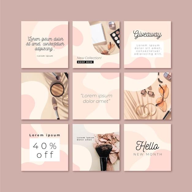 Modello di feed di puzzle di instagram Vettore Premium