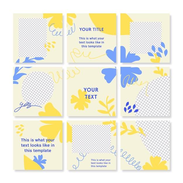 Raccolta di modelli di feed di puzzle di instagram Vettore Premium
