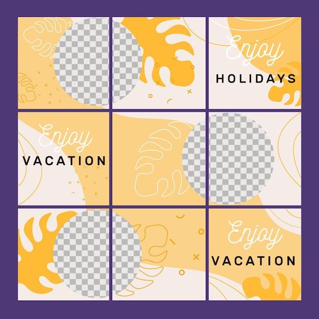 Pacchetto di modelli di feed di puzzle di instagram Vettore Premium