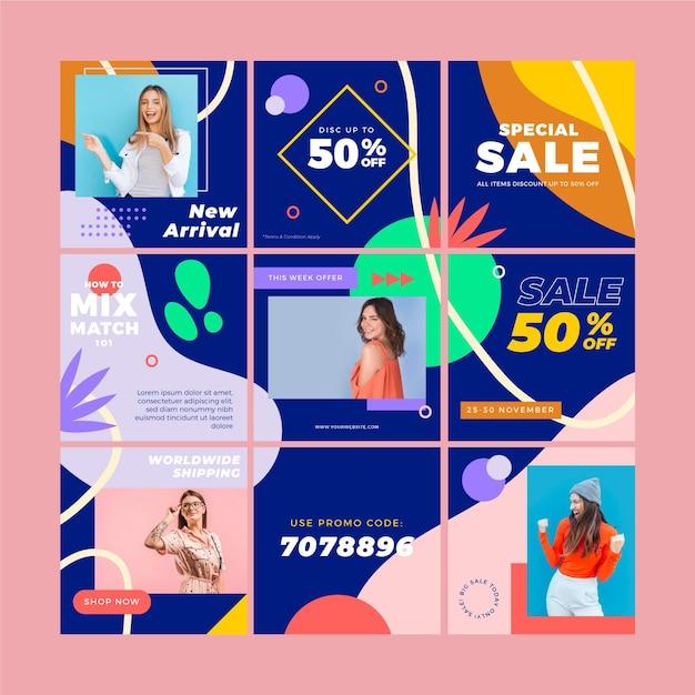Modelli di feed di puzzle di instagram per le vendite Vettore Premium