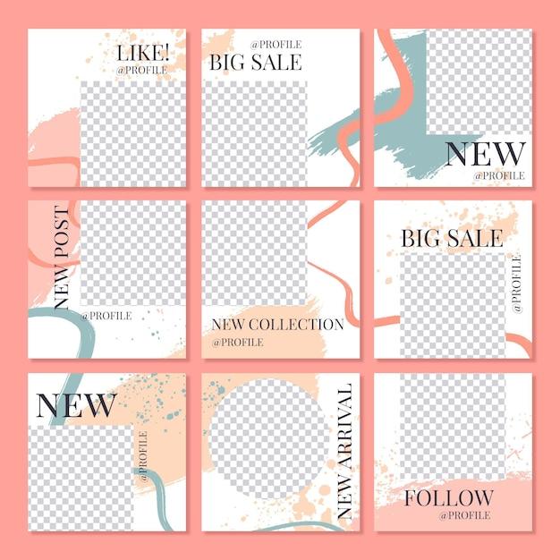 Modelli di feed di puzzle di instagram Vettore Premium