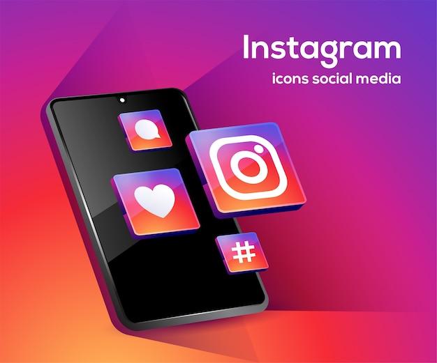 Instagram social media icone con il simbolo dello smartphone Vettore Premium