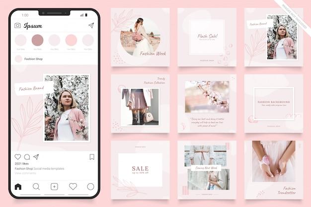 Banner di post sui social media di instagram per la promozione della vendita di moda Vettore Premium