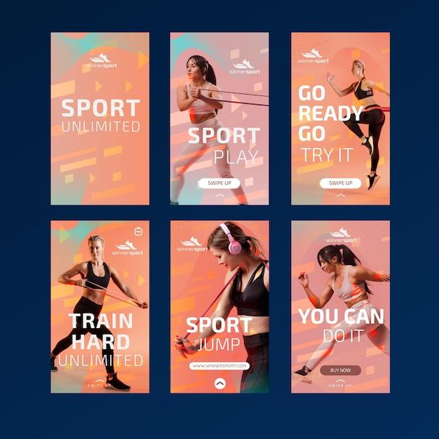 Raccolta di storie di instagram per il fitness in palestra Vettore Premium