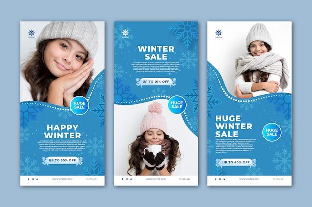 Raccolta di storie di instagram per i saldi invernali Vettore Premium