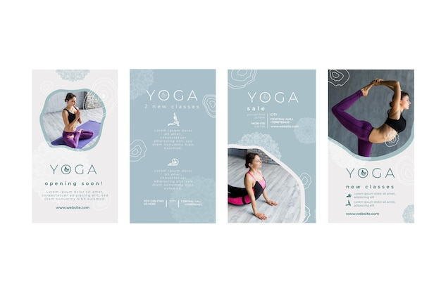 Raccolta di storie di instagram per la pratica dello yoga Vettore Premium