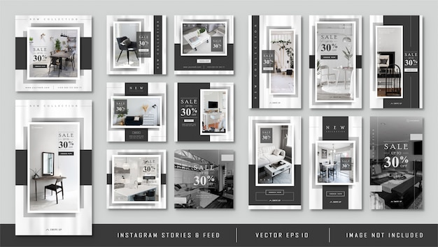Instagram stories e feed post minimalista black furnitur template Vettore Premium