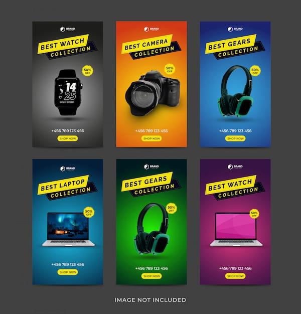 Set di raccolta di instagram stories gadgets Vettore Premium