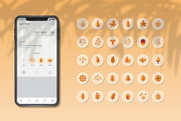 Le storie di instagram evidenziano la collezione di foglie e fiori d'autunno Vettore Premium