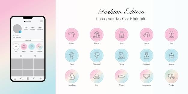 Le storie di instagram evidenziano la copertina di fashion Vettore Premium