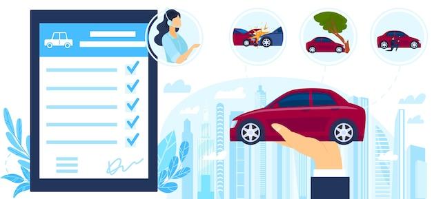 Illustrazione di protezione del servizio di assicurazione auto. Vettore Premium